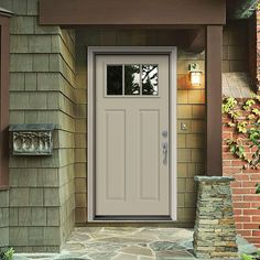 Jeld Wen 34 In X 80 In 3 Lite Craftsman Desert Sand Painted Steel Prehung Left Hand Inswing Front Door W Brickmould Thdjw167700865 The Home Depot Exterior Doors Steel Entry Doors Craftsman Style Doors