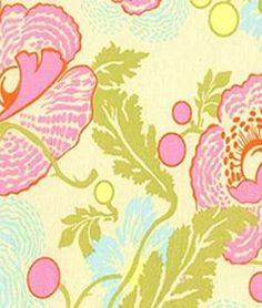 Amy Butler Fresh Poppies Ivory Fabric $8.75/yrd OLFS