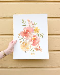 Custom Watercolor Florals You tell me what to paint I paint Peony Drawing, Peony Painting, Watercolor Painting Techniques, Watercolor Projects, Watercolour Painting, Drawing Trees, Watercolor Hand Lettering, Watercolor Cards, Watercolor Flowers