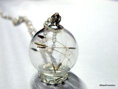 Vintagekette Pusteblumenkette in Glaskugel silber von Sara´s Charms auf DaWanda.com