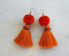 All Brown Pom Pom Tassel Earrings by SiamHillTribes on Etsy