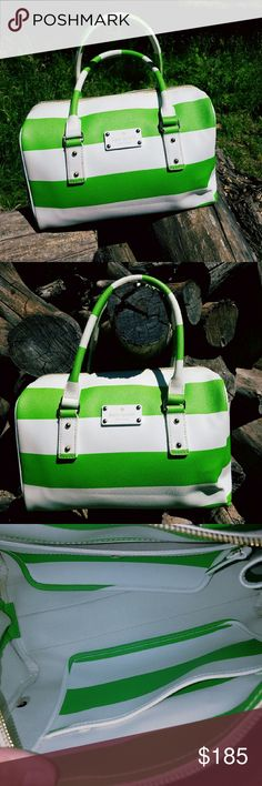 Kate spade bag Kate spade new york bag with mint green and white horizontal stripes. It has a very small stain in left corner and small side peeling of the strap. It's preloved piece. 100% Authentic. It comes with the dust bag. Code is Q064. kate spade Bags Satchels