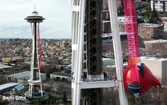 Angry Birds Space on the Space Needle. Go T-Mobile!