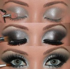 Silver & Black smokey eye