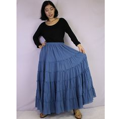 Blue Cotton Boho Hippie Long Elastic Waist Ruffle Skirt by siam2u