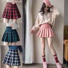 Grande Magazino Plus Size Harajuku Short Skirt New Korean Plaid Skirt Women Zipper High Waist School Girl Pleated Plaid Skirt Sexy Mini Skirt Long Skirts For Women, Short Skirts, Mini Skirts, Pencil Skirts, Women's Skirts, Plaid Fashion, Skirt Fashion, Fashion Outfits, Gothic Fashion