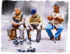 Feed the Birds (birds, malta, watercolor, friendly, men, europe, wall art, decor, ) by Creatography on Etsy