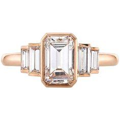 Rose Gold Emerald Cut Diamond Engagement Ring 1