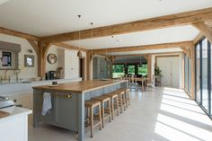 Since 1980 Border Oak have specialised in the design and construction of exceptional bespoke oak framed buildings across the UK and abroad Barn Conversion Interiors, Home, Oak Frame House, Open Plan Kitchen Living Room, Oak Framed Buildings, Barn Kitchen, Open Plan Kitchen, House Interior, Kitchen Design