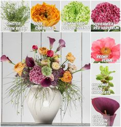 Vase with #Hydrangea #RedHarlekijn, #Ginster Green Berry, #Ranunculus Ponpon #Silente, #Rose #Caraluna, #Calla Captain #Promise and #Peony #Flame; Flowers avaialble at www.barendsen.nl
