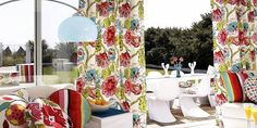 Palm Beach from Prestigious Textiles is a fresh and vibrant collection of modern cotton prints, featuring bold flower trails, stripes and geometric shapes Lined Curtains, Colorful Curtains, Curtains With Blinds, Patterned Curtains, Curtain Fabric, Beach Fabric, Prestigious Textiles, Luxury Curtains, Made To Measure Curtains