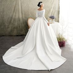 Vintage / Retro Ivory Satin Winter Wedding Dresses 2019 Princess Scoop Neck Long Sleeve Chapel Train Ruffle Love this! Western Wedding Dresses, Evening Dresses For Weddings, Wedding Gowns With Sleeves, Country Wedding Dresses, Long Sleeve Wedding, Princess Wedding Dresses, Modest Wedding Dresses, Bridal Dresses, Bridal Gown