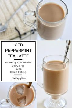 This herbal Iced Peppermint Tea Latte is caffine-free, naturally sweetened, dairy free, paleo, clean eating and plant based! Yummy Drinks, Healthy Drinks, Peppermint Tea Benefits, Iced Latte, Iced Tea Latte Recipe, Coffee Recipes, Hot Tea Recipes, Tuna Recipes, Gourmet