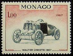 Vintage Racing Car Walter Christie 1907. Monaco stamp 1967.