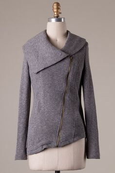 Knit Zipper Jacket - Grey | Hazel & Olive