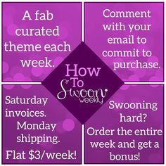 Launching July 6, Swoon Weekly is your new accessory obsession, curated weekly here on Instagram. Five accessories for your life, one per day, Monday through Friday all within a weekly theme, announced on Saturdays. All you have to do is comment with your email address, and that item will be added to your invoice for the week. We invoice you on Saturday for everything you've committed to purchase that week, and you have until Monday morning to pay. We ship out Mondays!