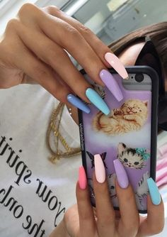 40 Pretty Multicolored Nail Art Designs For Spring and Summer 2019 rainbow nails colorful nail art design French manicure Multicolored Nail Art Designs Summer Acrylic Nails, Best Acrylic Nails, Acrylic Nail Designs, Summer Nails, Spring Nails, Bright Acrylic Nails, Acrylic Nails Coffin Kylie Jenner, Nails Summer Colors, Coffin Nails Designs Summer