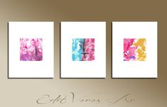 Set of 3 Pink Gray Violet White Blue Original Abstract Acrylic