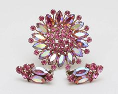 Pink Rhinestone Brooch and Earrings  Vintage 1960s Aurora