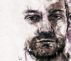 Florian Nicolle. Male artist. He layers ink, paper, paint, etc.
