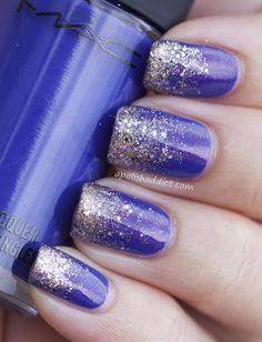 MAC, nails, nail polish, design, pretty, sparkles, blue
