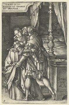 Heinrich Aldegrever   Amnon verkracht Tamar, Heinrich Aldegrever, 1540   Amnon op de rug gezien, staand naast een bed, omarmt zijn halfzus Tamar en tilt haar rok omhoog. Linksboven een cartouche met tekst in het Latijn. Tweede prent uit een serie van zeven met het verhaal van Amnon en Tamar.