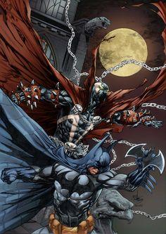 Batman - Spawn by Rahmat M Handoko by on DeviantArt Comic Book Characters, Comic Book Heroes, Comic Character, Comic Books Art, Comic Art, Spawn Comics, Dc Comics Superheroes, Marvel Dc Comics, Spawn 1