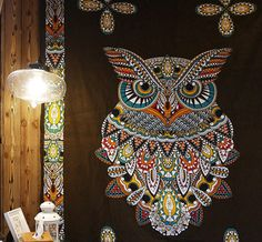 Beautiful Bohemia Mandala Owl Tapestry