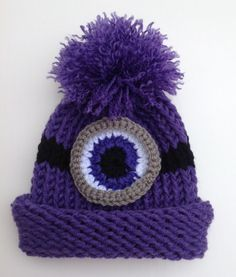 Evil Minion Inspired Purple Halloween Preemie Infant Baby Child's Toddler Teen Adult Knitted Winter Hat by JilleBeansCreations (10.00 USD)