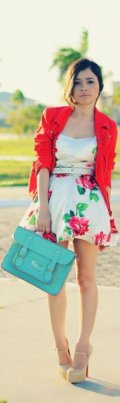 Floral dress, red jacket, and nude heels.