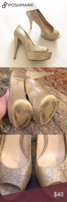 """Enzo Angiolini Gold sparkle platform Pumps Beautiful and sparkly open toe pumps. Perfect for a night out. Some wear on bottoms and other than that shoes are great! Heel height 5"""". Platform 1.5"""". Man made materials. Enzo Angiolini Shoes Platforms"""