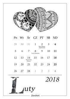 Kalendarz 2018 - do druku :)  LUTY Zentangle