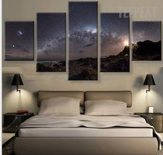 Stars Of The Milky Way Galaxy - 5 Piece Canvas Painting-Canvas-TEEPEAT  #prints #printable #painting #empireprints #teepeat