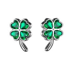 KIVN Fashion Jewelry Lucky Four Leaf Clovers Shamrock Earrings for Women Emerald >>> Check out the image by visiting the link.-It is an affiliate link to Amazon. #WeddingEarrings