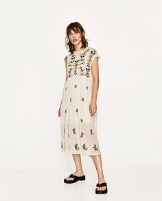 ZARA WOMEN NEW COLLECTION !! SS17 PLUMETIS EMBROIDERED DRESS XS 6895/072/942