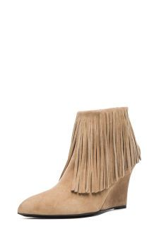 Suede Fringe Booties in Taupe | Spotted on @iamcattsadler