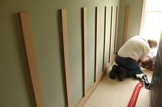 DIY - Board & Batten - a less expensive way to have chair rail/wainscoting.