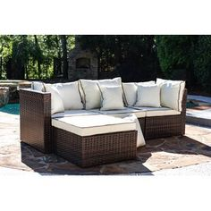 Three Posts Burruss Patio Sectional with Cushions Frame Color/Cushion Color: Brown Frame/Cream Cushion Patio Daybed, Patio Chairs, Ikea Patio, Sectional Furniture, Sectional Sofa, Couches, Outdoor Furniture Covers, Furniture Decor, Furniture Design