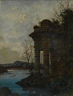 Ferdinand Knab ~ Landscape with temple ruins, 1890