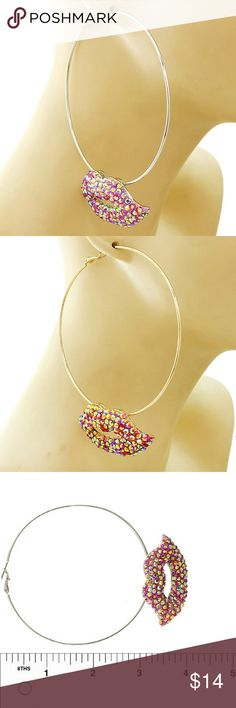 Aurora Borealis Fuchsia Rhodium Lips Earrings Amazing cutest hoop earrings featuring the rhodium lips with aurora borealis type of stones. Rhodium hoop body with leaver back closure. Approx 4 inches wide. Jewelry Earrings
