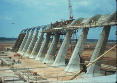 Saarinen's Dulles Airport under construction, Washington D.C.