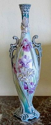 """Tall 14 5"""" Stunning Japanese Nippon Floral Moriage Vase x Condition 