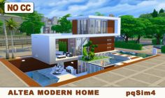 pqSim4: Altea Modern Home. Sims 4 Speed Build and Download...
