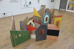 Jenny Steele - Market Town Installation at Barnaby Festival Screen print on Cardboard 2014