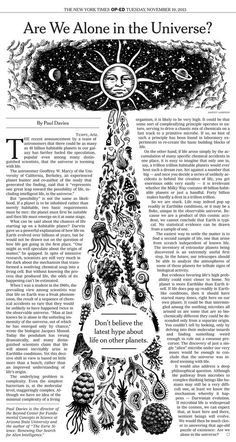 Johnny Sampson 'Are We Alone In The Universe?' for the New York Times Text Layout, Print Layout, Newspaper Design Layout, Magazine Layout Design, Magazine Layouts, Magazin Design, Newsletter Design, Publication Design, Layout Inspiration