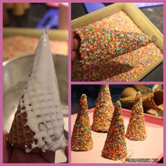 How to make gingerbread house trees out of cones and sprinkles. Cute landscaping for the gingerbread scene. Gingerbread House Parties, Christmas Gingerbread House, Christmas Treats, Christmas Baking, Christmas Cookies, Gingerbread Houses, Holiday Baking, Gingerbread House Decorating Ideas, Diy Christmas