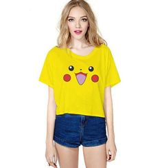 8176167bb8e Funny Smiling Face Print Crop Tops Girls Yellow Color Picachu Summer Casual  T-shirts Fitness Top Gym Club Beach wear blouse