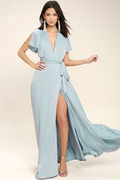 Lulus Exclusive! Gaze across the skyline in the City of Stars Light Blue Maxi Dress! Soft woven poly shapes a plunging surplice neckline and fluttering short sleeves. Fitted waist with tying sash tops a wrapping maxi skirt. Hidden back zipper/clasp.