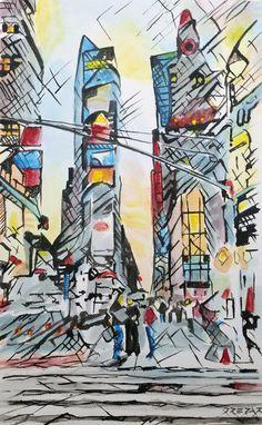 Strade di New York, la linea e il colore restituiscono un paesaggio decostruttivista, dove l'immaginazione può creare la città ideale. Titolo: Street of NY Tecnica: acrilico Materiale: tela libera Dimensioni: 18 x 21cm Anno: 2017   #acrilic #apple #art #arte #artforsale #artseller #artworks #beauty #bigapple #canvas #city #dipinto #drepar #espressionismo #expressionism #giallo #icona #info #investment #landscape #line #linear #lineare #lineart #linee #metropolis #m