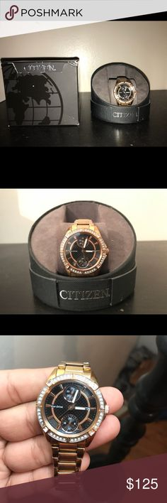 Women's Rosegold Citizen Watch -Regular Price $300  -Eco Drive -all rime-stones still attached -Does have a little scratch on the bottom glass  -overall still in great condition Citizen Accessories Watches